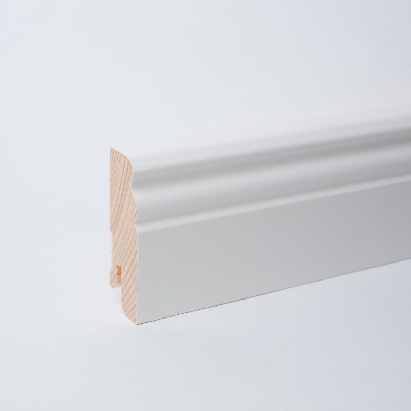 Massivholz Sockelleiste weiß