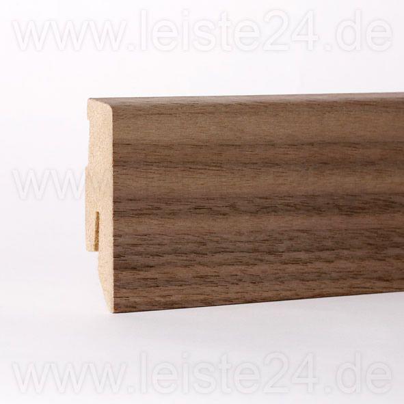 Furnier-Sockelleiste 60 mm Nussbaum roh