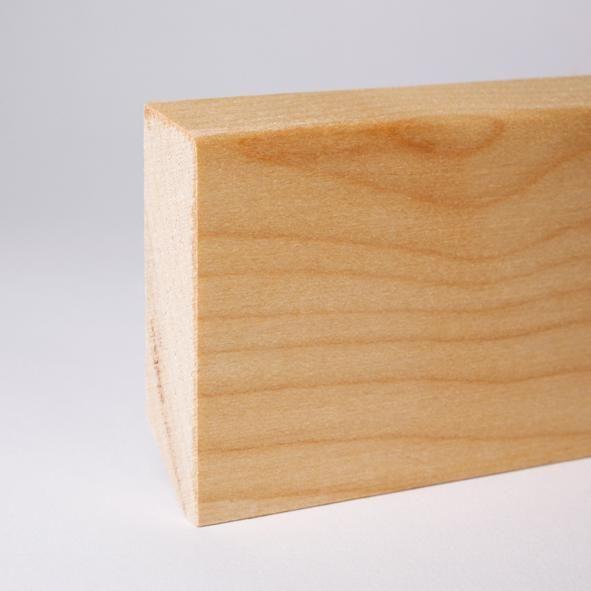 Massivholz Sockelleiste abgeschrägt 80mm - Ahorn geölt