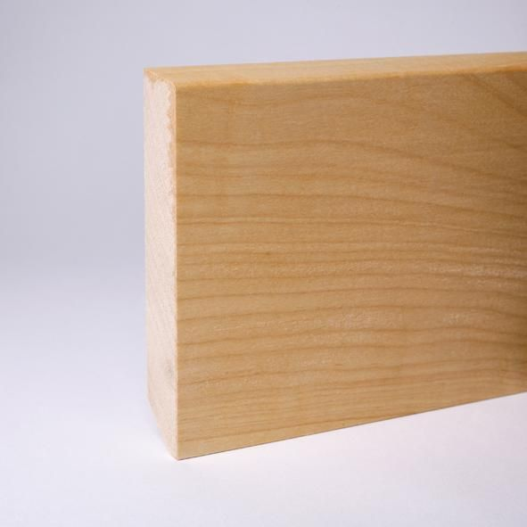 Massivholz Sockelleiste abgeschrägt 100mm - Ahorn geölt