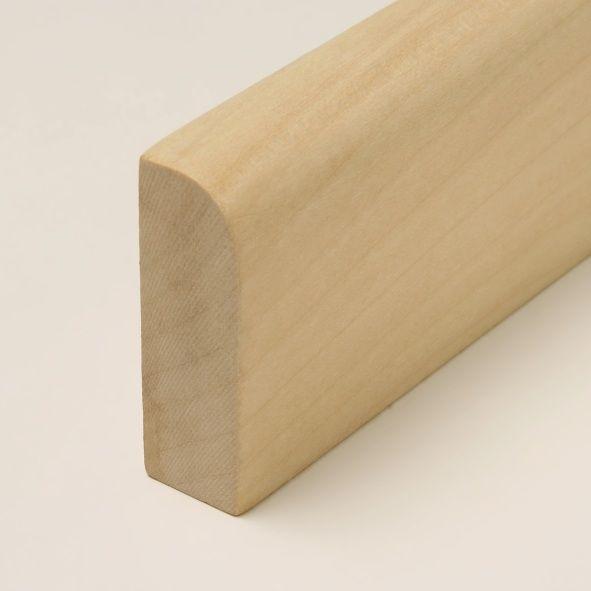 Massivholz-Sockelleiste abgerundet 120mm - Ahorn gelackt