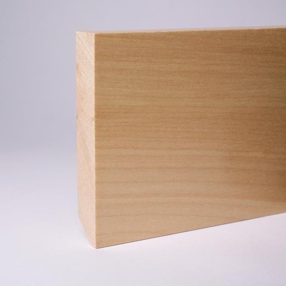 Vierkant Massivholz-Sockelleiste 120mm - Ahorn gelackt