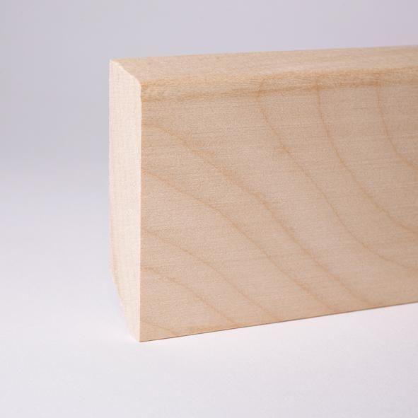 Massivholz Sockelleiste abgeschrägt 80mm - Ahorn roh