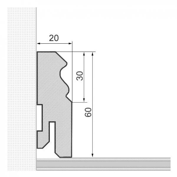 25 lfm Kirschbaum massiv 60mm lackiert, Berliner Profil