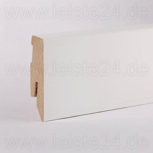 Furnier-Sockelleiste 60 mm deckend weiß lackiert