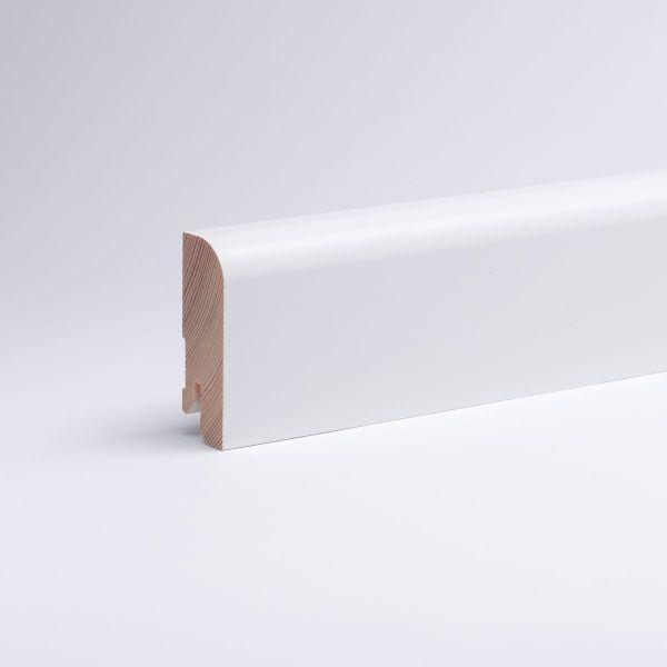 32 lfm Massivholz-Sockelleiste Kiefer 60mm Rundkante - Weiß lackiert