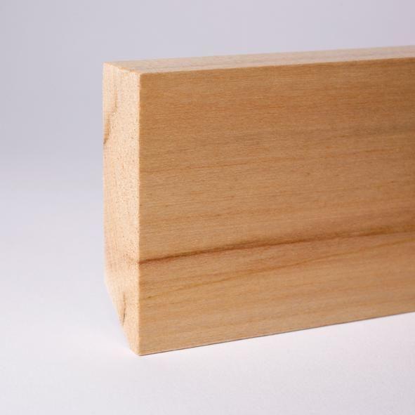 Vierkant Massivholz-Sockelleiste 80mm - Ahorn gelackt
