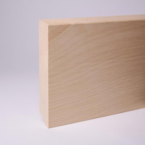 Massivholz Sockelleiste abgeschrägt 120mm - Ahorn roh