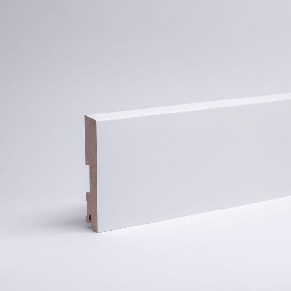 25 lfm Massivholz-Sockelleiste Abgeschrägt 120mm - Weiß lackiert